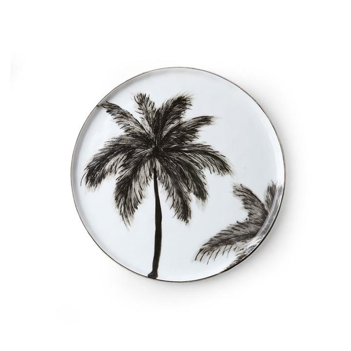 Der Bold & Basic Keramik Teller von HKliving, Ø 22 cm, weiß / Palmenmotiv