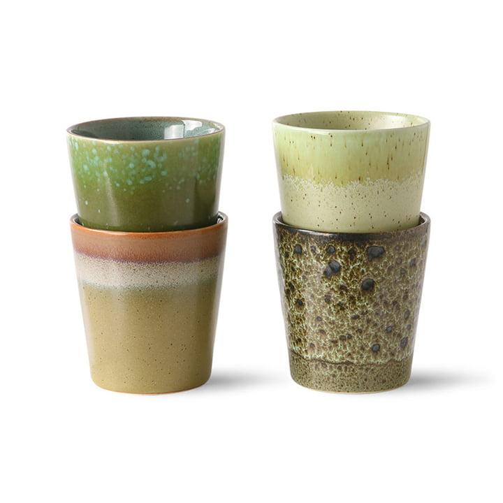 Die 70's Kaffeebecher von HKliving, spring greens (4er Set)