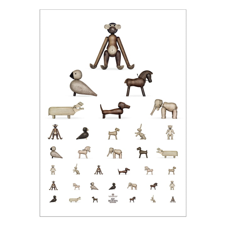 Sehtest Poster, 50 x 70 cm, braun / weiß von Kay Bojesen