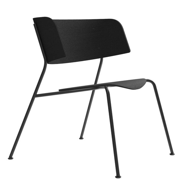 Wagner Loungechair von Objekte unserer Tage in Eiche lackiert schwarz / schwarz
