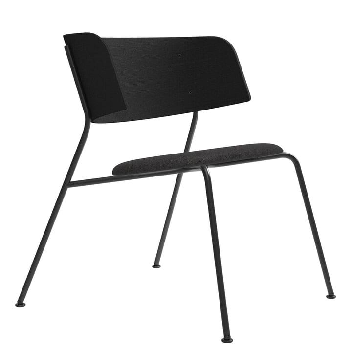 Wagner Loungechair von Objekte unserer Tage in Eiche lackiert schwarz / Leder DUNES anthrazit