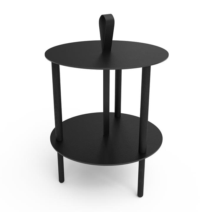 Strap Beistelltisch Ø 38 x H 46 cm von LindDNA in Eiche schwarz / bull schwarz