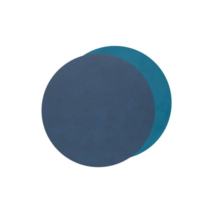 Glasuntersetzer Circle Double von LindDNA in Nupo midnight blue / petrol