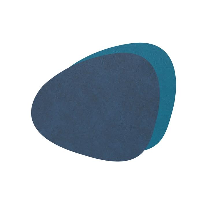 Glasuntersetzer Curve Double von LindDNA in Nupo midnight blue / petrol