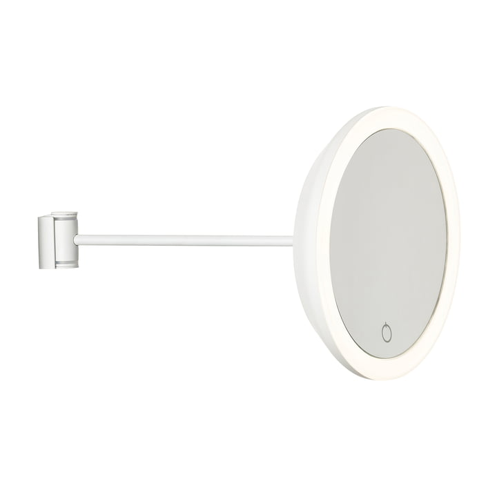 Wand-Kosmetikspiegel mit 5-fach Vergrößerung und LED-Beleuchtung Ø 17,5 x 26 cm von Zone Denmark in weiß