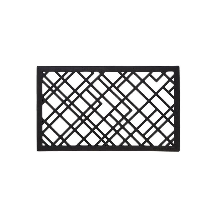 Gummi-Fußabtreter 45 x 75 cm von tica copenhagen in lines / schwarz