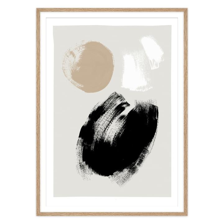 Das Brush Poster von artvoll mit Rahmen, Eiche natur