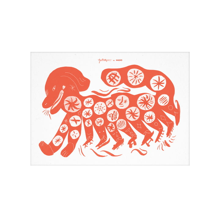 Das Chinese Dog Poster von Paper Collective, 30 x 40 cm, rot