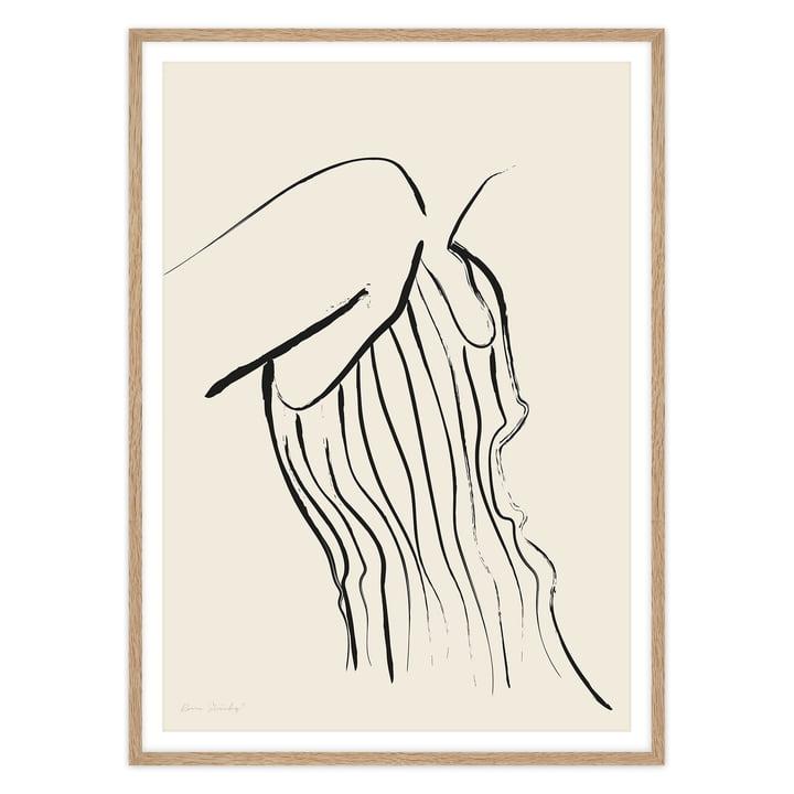 Das Self Love Serie - Woman In Stripes Poster von artvoll mit Rahmen, Eiche