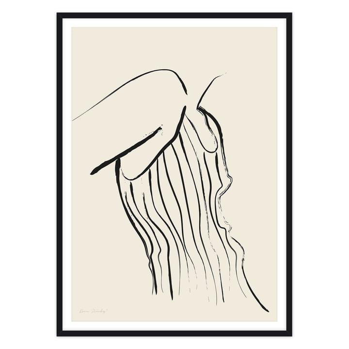 Das Self in love Serie, Woman in stripes - Poster von artvoll mit Rahmen, schwarz