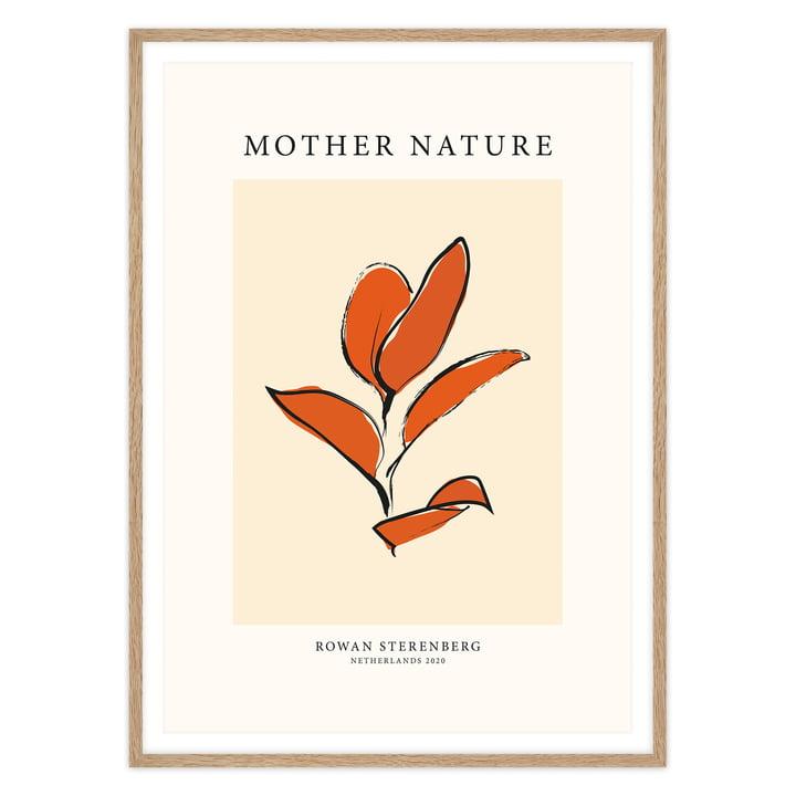 Das Mother Nature, Orange Leaf - Poster von artvoll mit Rahmen, Eiche
