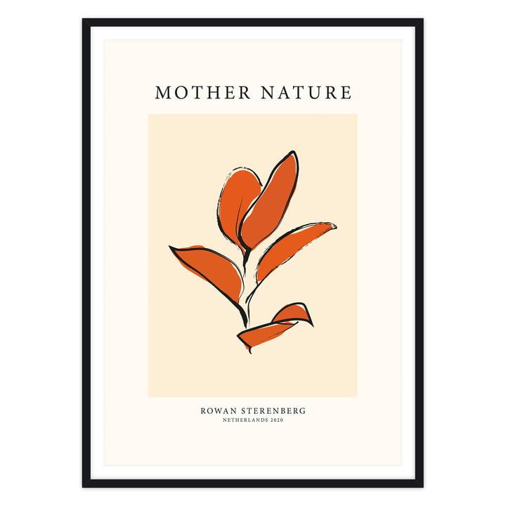 Das Mother Nature, Orange Leaf - Poster von artvoll mit Rahmen, schwarz