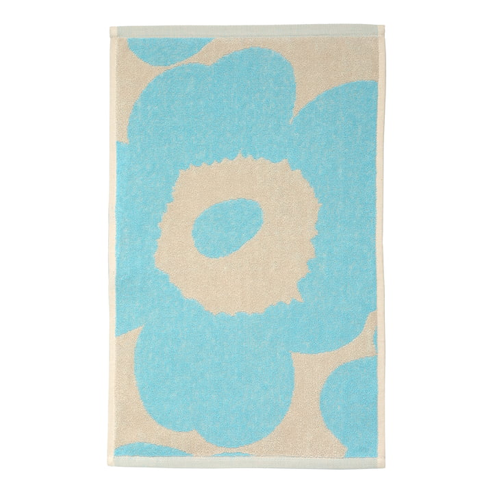 Marimekko - Unikko Gästehandtuch 30 x 50 cm, off-white / hellblau (Herbst 2021)