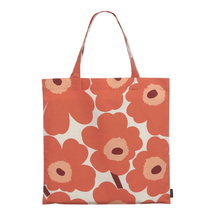 Die Pieni Unikko Einkaufstasche von Marimekko, leinen / orange / burgund (Herbst 2021)