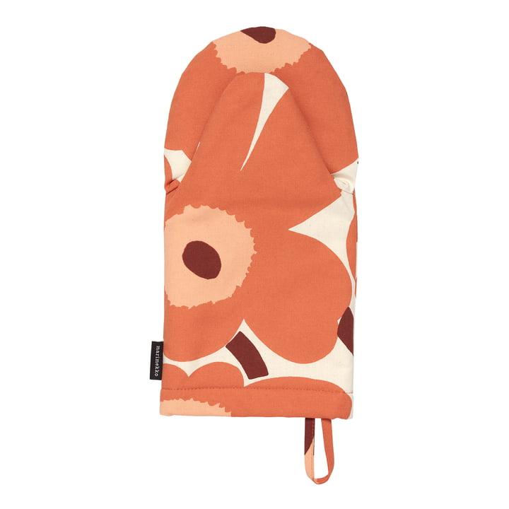 Der Pieni Unikko Ofenhandschuh von Marimekko, leinen / orange / burgund (Herbst 2021)