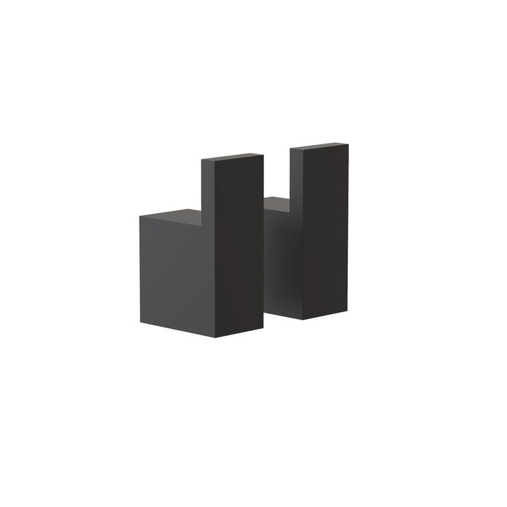 Die Quadra Wandhaken 8 von Frost, schwarz (2er-Set)