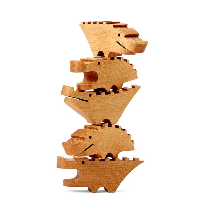 Die Croc Pile Mini Holzkrokodile von Areaware, groß, natur (5er-Set)