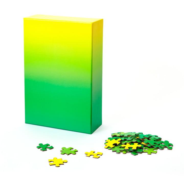 Farbverlauf Puzzle von Areaware in grün / gelb