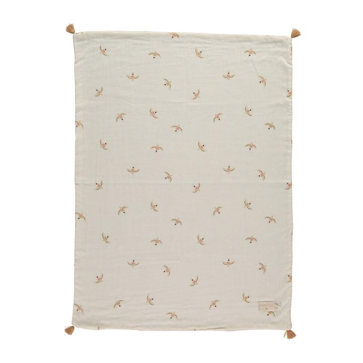 Die Treasure Leichte Decke von Nobodinoz, 70 x 100 cm, nude haiku birds natural