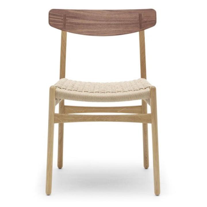 CH23 Chair von Carl Hansen in Eiche geölt / Walnuss geölt / Naturgeflecht (Abdeckkappe Walnuss)