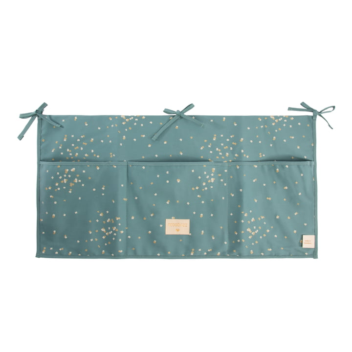 Merlin Babybett Utensilo 60 x 30 cm von Nobodinoz in gold confetti / magic green