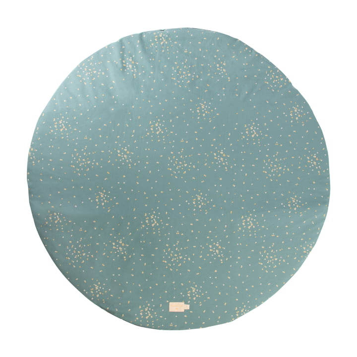 Full Moon Spielmatte Ø 105 cm von Nobodinoz in gold confetti / magic green