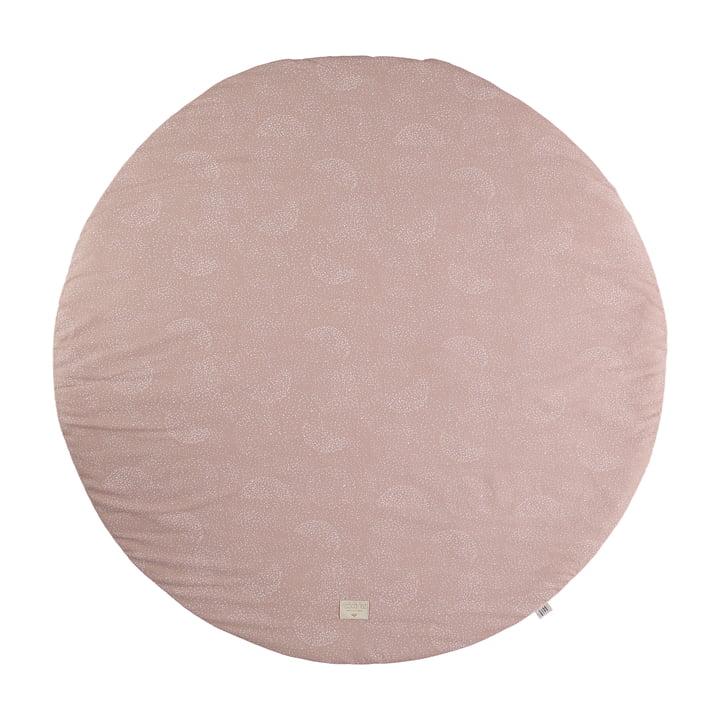 Full Moon Spielmatte Ø 105 cm von Nobodinoz in white bubble / misty pink