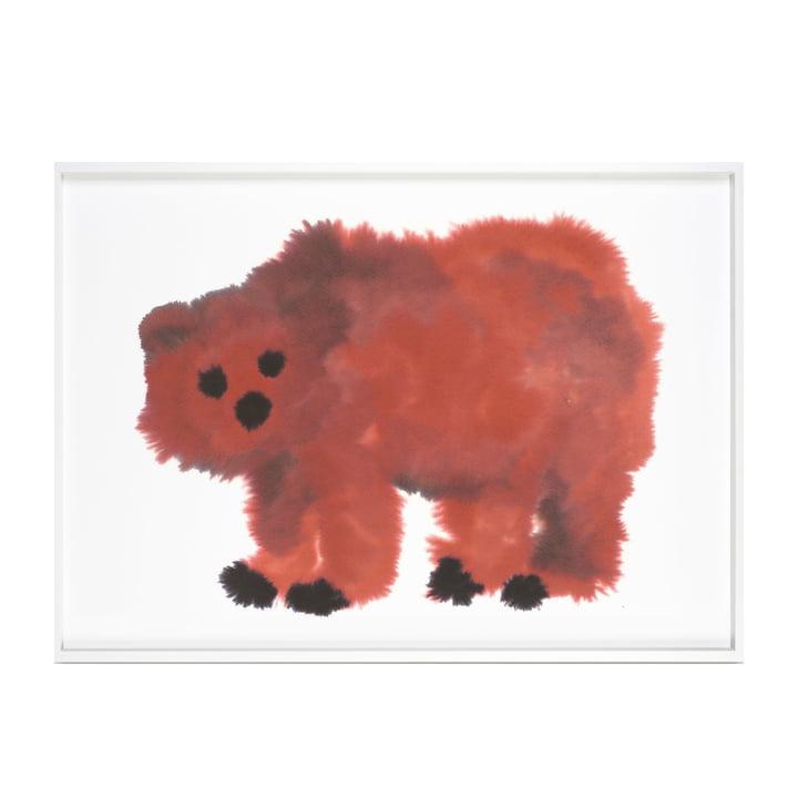 Bär Poster mit Rahmen 52 x 69,8 cm von The Wrong Shop in rot / schwarz