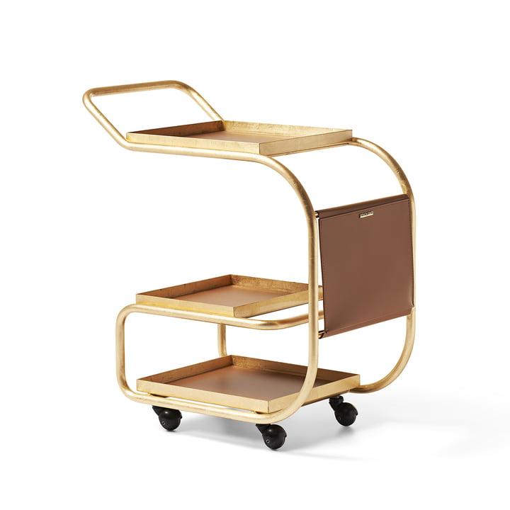 Zenzero Servierwagen von Opinion Ciatti in Leder / Goldfolie glänzend