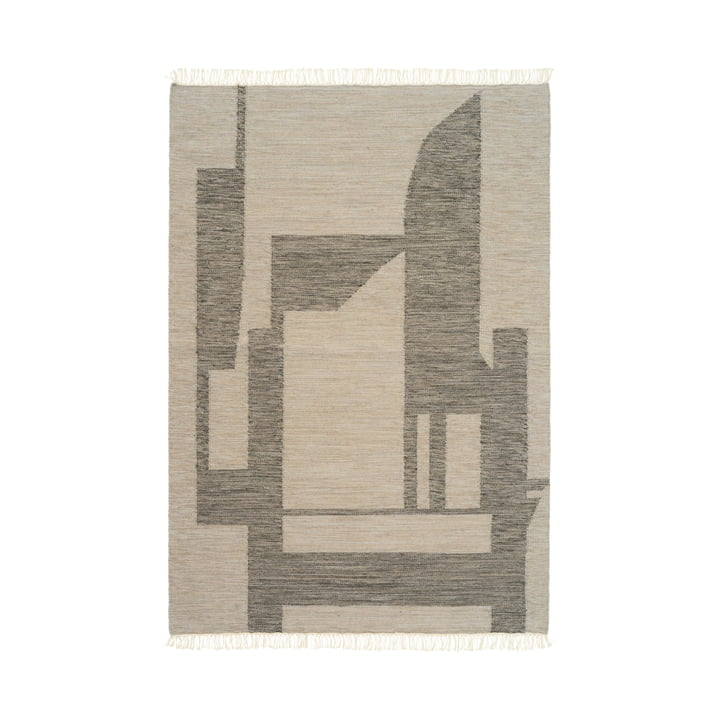 Contemporary Kelim Teppich 140 x 200 cm von Kristina Dam Studio in off-white / grau