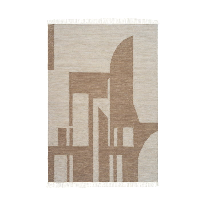 Contemporary Kelim Teppich 140 x 200 cm von Kristina Dam Studio in weiß / braun