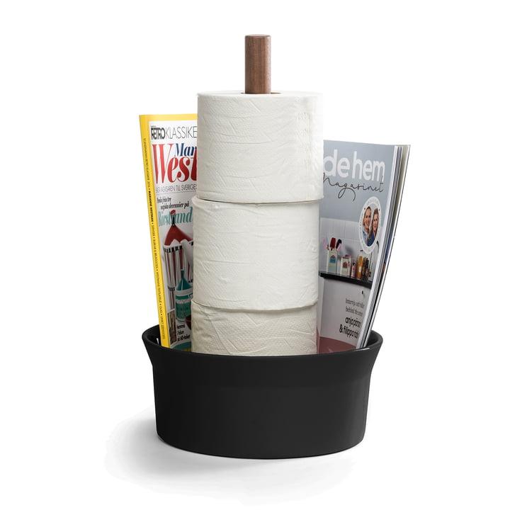 Der Angle Toilettenpapierhalter von Born in Sweden, Walnuss / schwarz matt