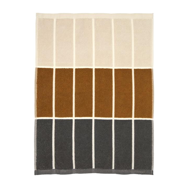 Tiiliskivi Handtuch 50 x 70 cm von Marimekko in den Farben dunkelgrau / cinnamon / powder