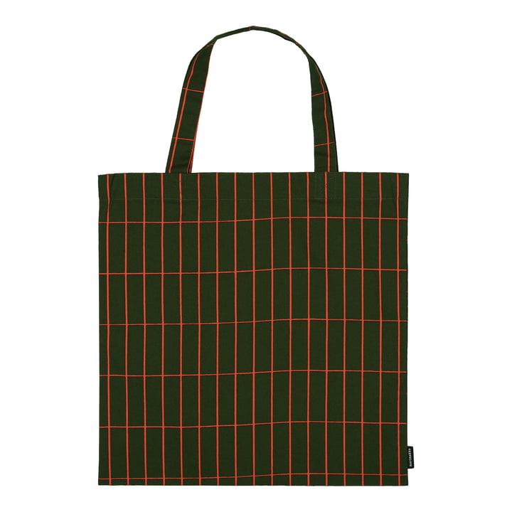 Tiiliskivi Einkaufstasche von Marimekko in den Farben dunkelgrün / rot