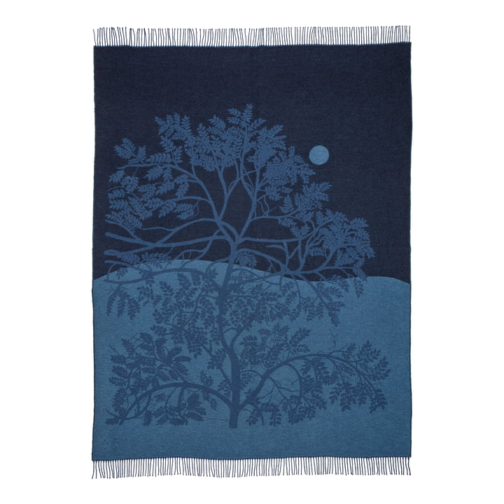 Puu Kuutamossa Decke von Marimekko in den Farben graublau / blau / schwarz