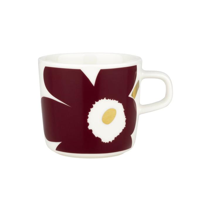 Oiva Juhla Unikko Kaffeetasse von Marimekko in der Ausführung weiß / weinrot / gold