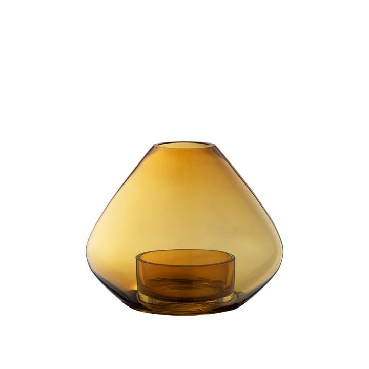 Das Uno Windlicht und Vase von AYTM, Ø 14,5 x H 11,5 cm, amber