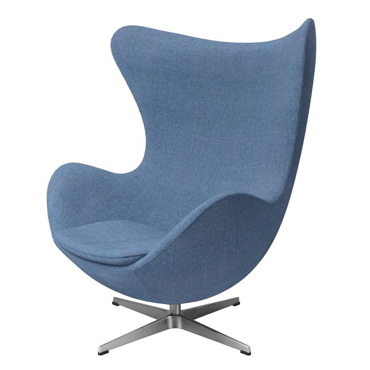 Der Egg Chair von Fritz Hansen, Aluminium gebürstet / dusk blue (Re-Wool)