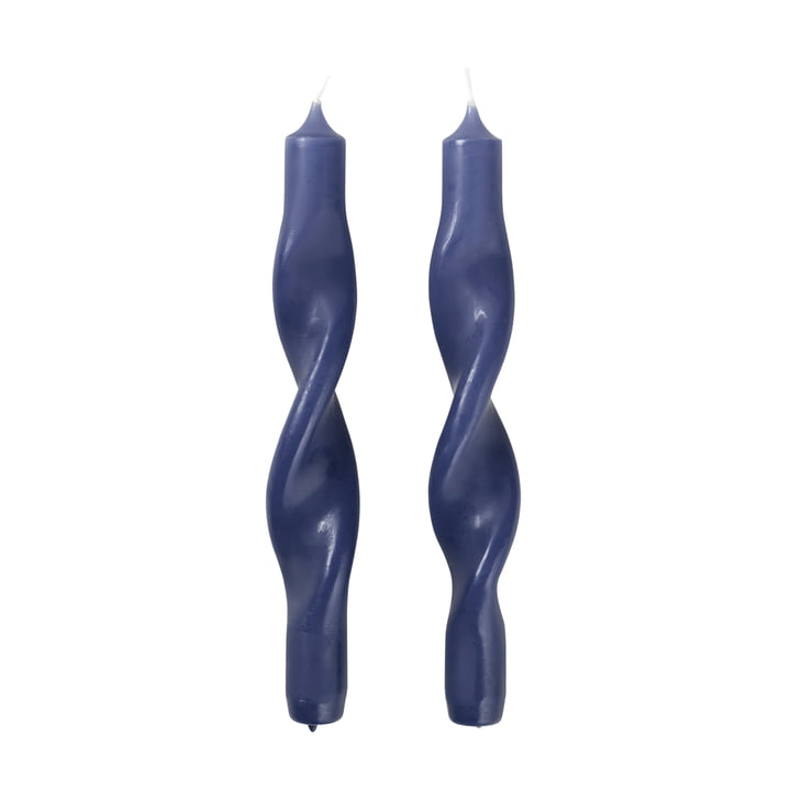 Die Twist Kerzen von Broste Copenhagen, baja blue (2er-Set)