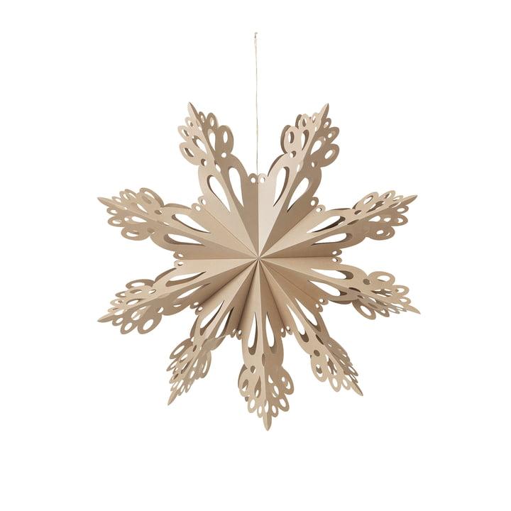 Broste Copenhagen - Christmas Snowflake Deko-Anhänger, Ø 30 cm, braun natur
