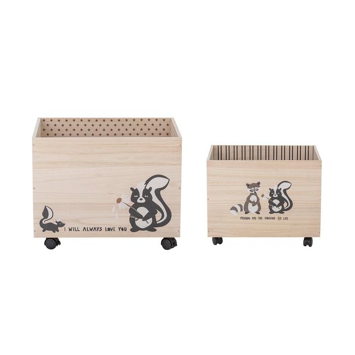 Nonni Aufbewahrungsbox mit Rollen von Bloomingville aus Paulownia-Holz in schwarz (2er Set)