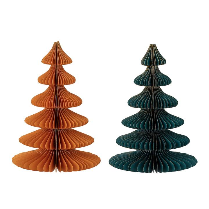 Milan Deko-Weihnachtsbaum Ø 15,5 x H 22,5 cm (2er-Set) von Bloomingville in multicolor
