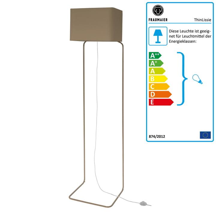 ThinLissie Stehleuchte mit LED-Dimmer von frauMaier in taupe (RAL 7006)