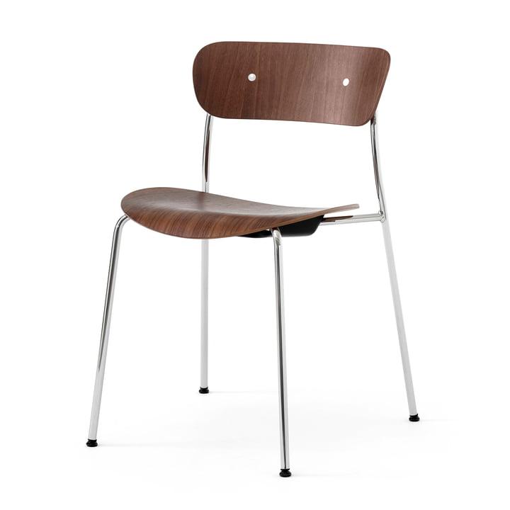 Pavilion Stuhl, Rahmen chrom / Walnuss lackiert von &Tradition