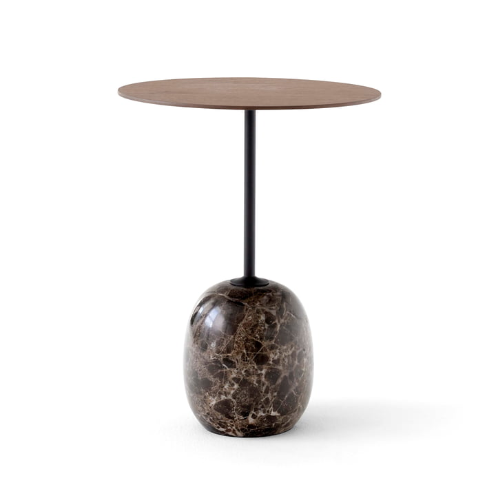 &Tradition - Lato Beistelltisch, H 50 cm / Ø 40 cm, Walnuss / Emparador Marmor