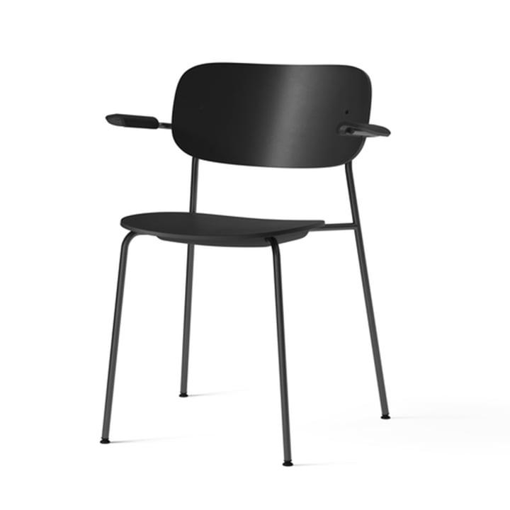 Co Dining Recycled Plastic Chair mit Armlehnen, schwarz von Menu