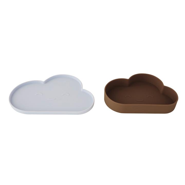 Chloe Cloud Snack Set von OYOY in eisblau / choko
