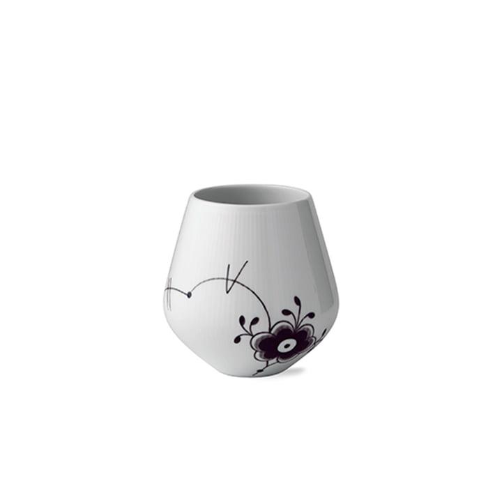 Mega Schwarz Gerippt Vase H 15 cm von Royal Copenhagen