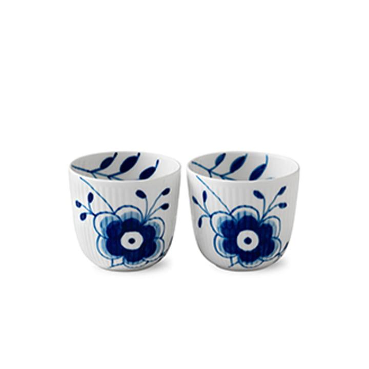 Mega Blau Gerippt Teelichthalter (2er-Set) von Royal Copenhagen