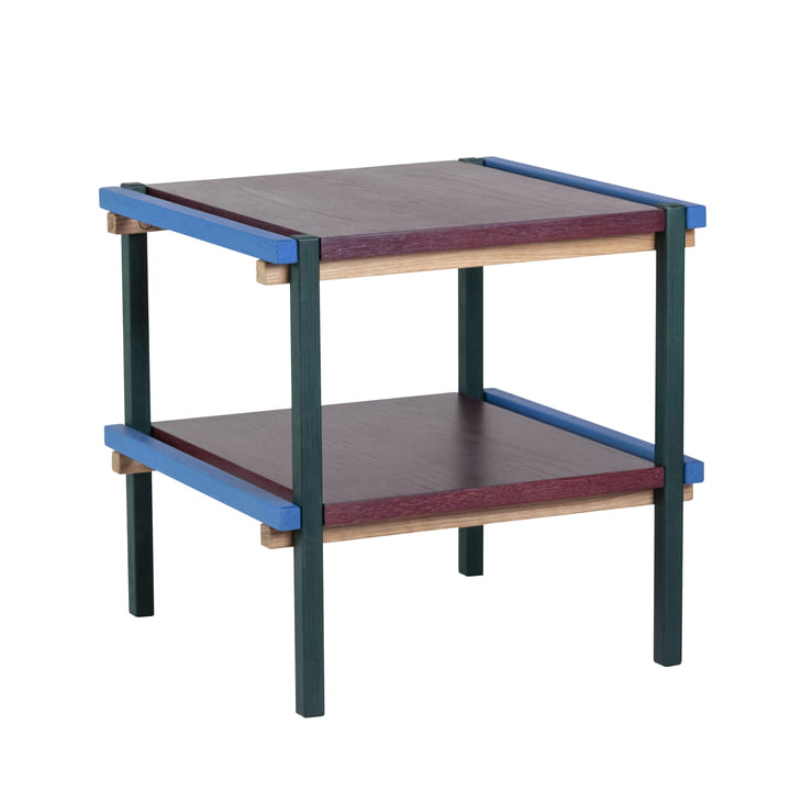 Beistelltisch mit 2 Ebenen, blau / burgund von Hübsch Interior